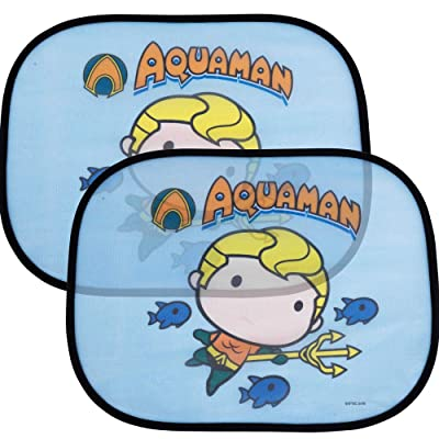 "2 Pack Cute Chibi Aquaman Side Car Window Sun Shade - 17""x13"" Licensed DC Comics Superhero Cling Sunshade for Glare-UV Ray Protection for You and Your Child Baby–Universal Fit for Car Sedan Truck SUV: Automotive"