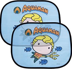 "Side Car Window Sun Shade - 17""x13"" Cling Sunshade for Glare and UV Ray Protection for You and Your Child - Baby Side Window Car Sun Shades - Licensed DC Comics Chibi Aquaman"