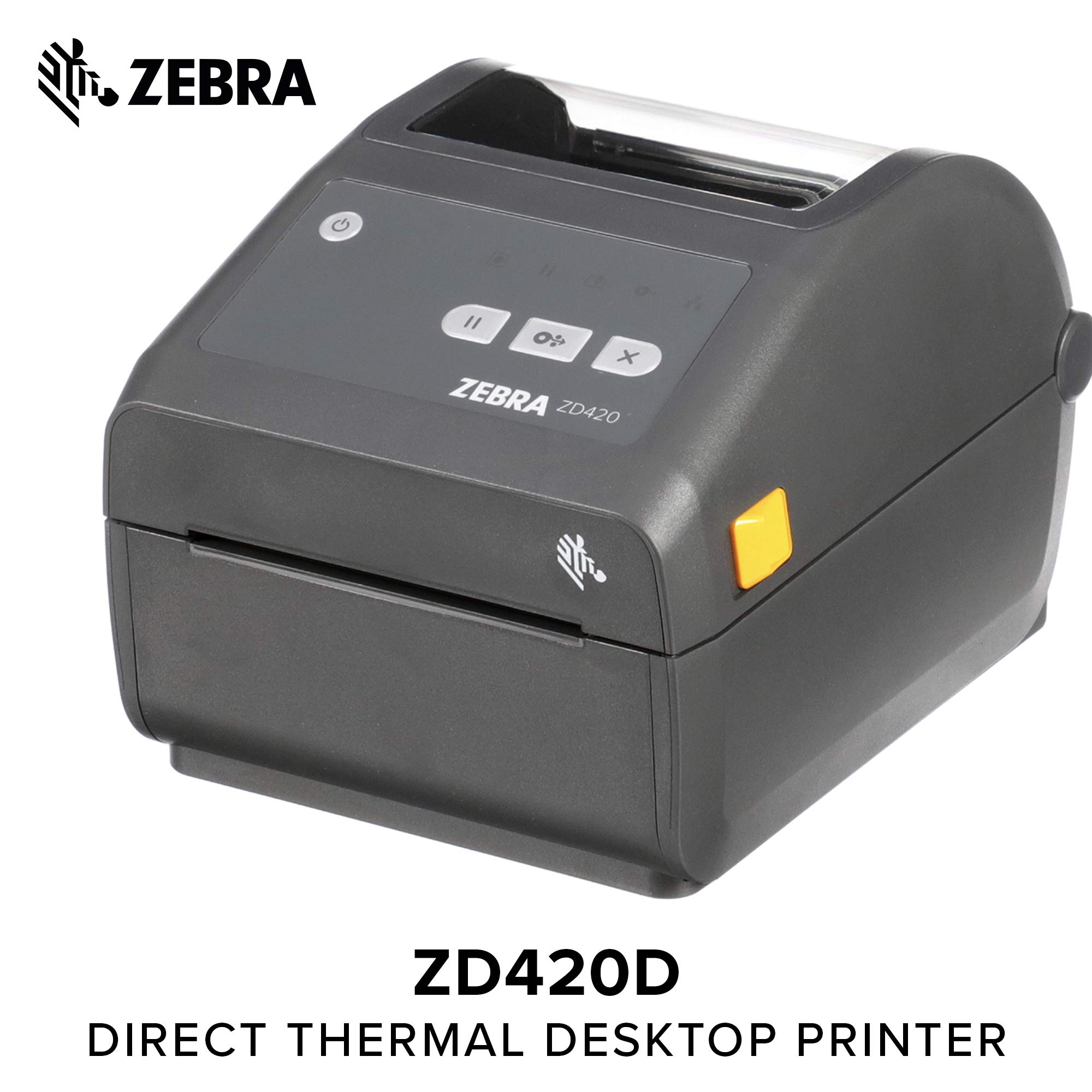 Zebra - ZD420d Direct Thermal Desktop Printer for Labels and Barcodes - Print Width 4 in - 203 dpi - Interface: WiFi, Bluetooth, USB - ZD42042-D01W01EZ