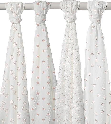Juego de 4 Mantas de Muselina para bebé, 100 % algodón orgánico, para bebé Suave, cobijas de Dormir de 47 x 47 Pulgadas por Linen and Towel: Amazon.es: Hogar