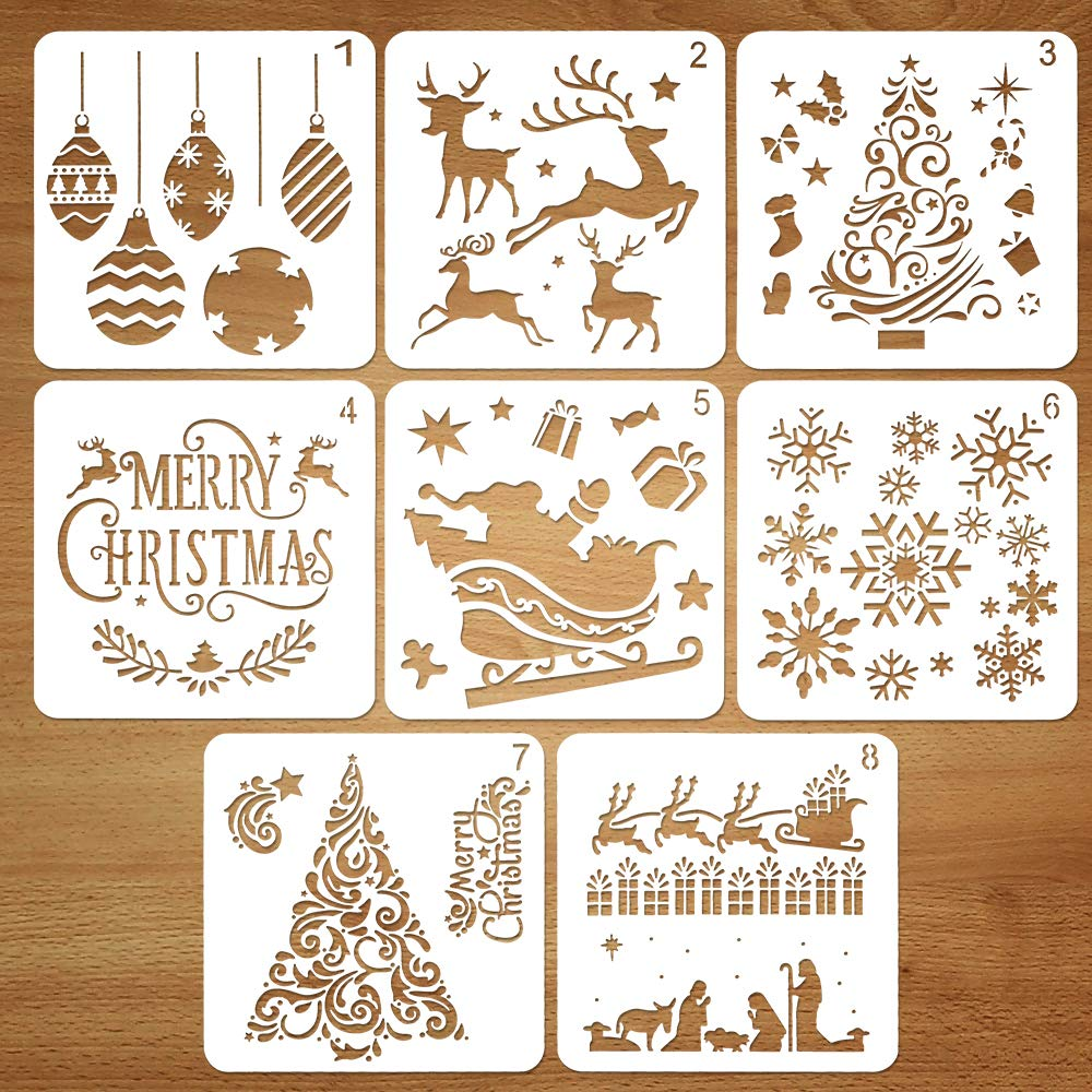 Coogam Christmas Stencil Template Reusable Plastic Stencil Drawing Kit, Set of 8, Merry Christmas Santa Claus Christmas Tree Snowflakes Bells Reindeer Stencil for DIY Christmas Decoration
