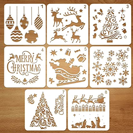 Coogam 8 Pcs Christmas Stencils Template
