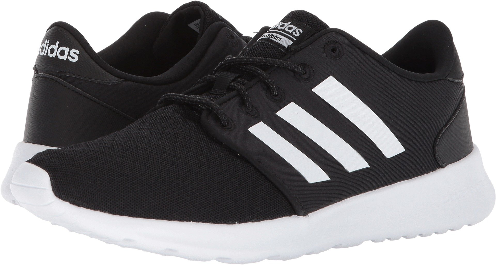 adidas Women's Cloudfoam QT Racer Running Shoe, Black/White/Carbon, 7 M US