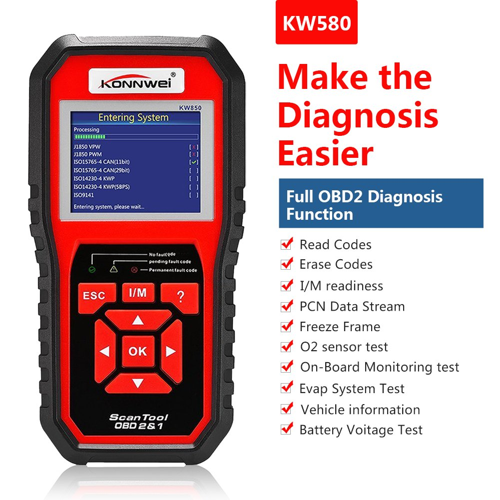 KW850/OBD2/EOBD universale veicolo motore System Tool Check Engine Light lettore di codice KONNWEI OBDII auto
