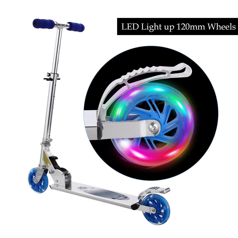 Evokem LED 2-Wheel Kick Scooter for kids Adjustable Height Handle Bar Scooter (US STOCK)