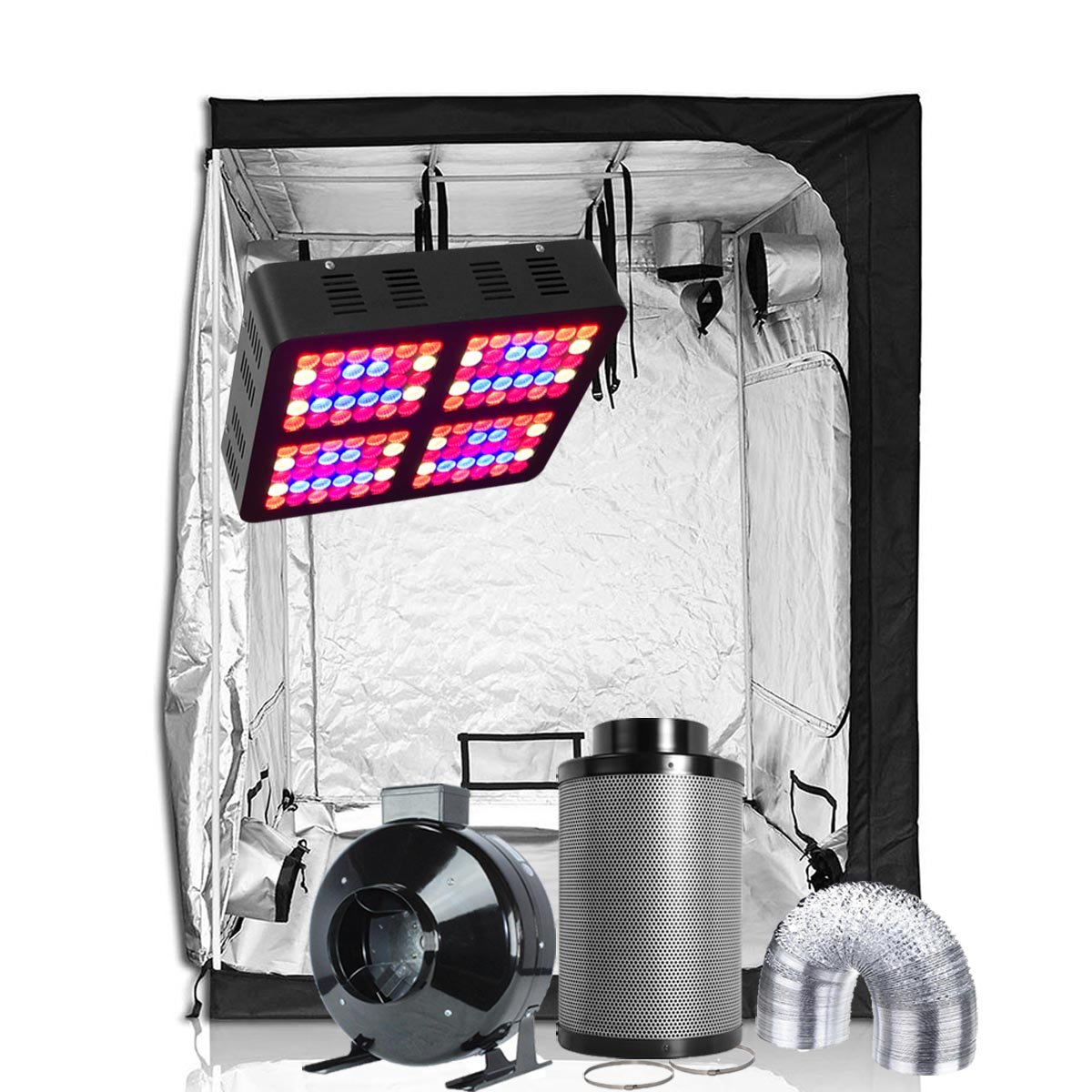 Oppolite LED Grow Tent Kit Complete Package LED 600W Grow Light Kit +6'' Fan Filter Ventilation Kit +60''X60''X80'' Grow Tent Setup Hydroponics Indoor Plants Growing System (LED600W+60''X60''X80''+6'')