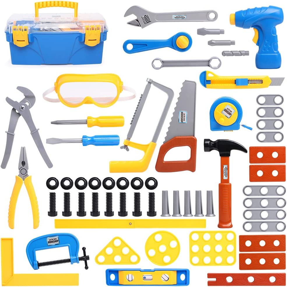 JUOIFIP Construction Tool Toy Playset 60 Pieces Kids Tool Set Pretend Play Series Tool Accessories Playset Indoor Outdoor Preschool Toy Gift for Kids Toddlers Baby Children Boys and Girls