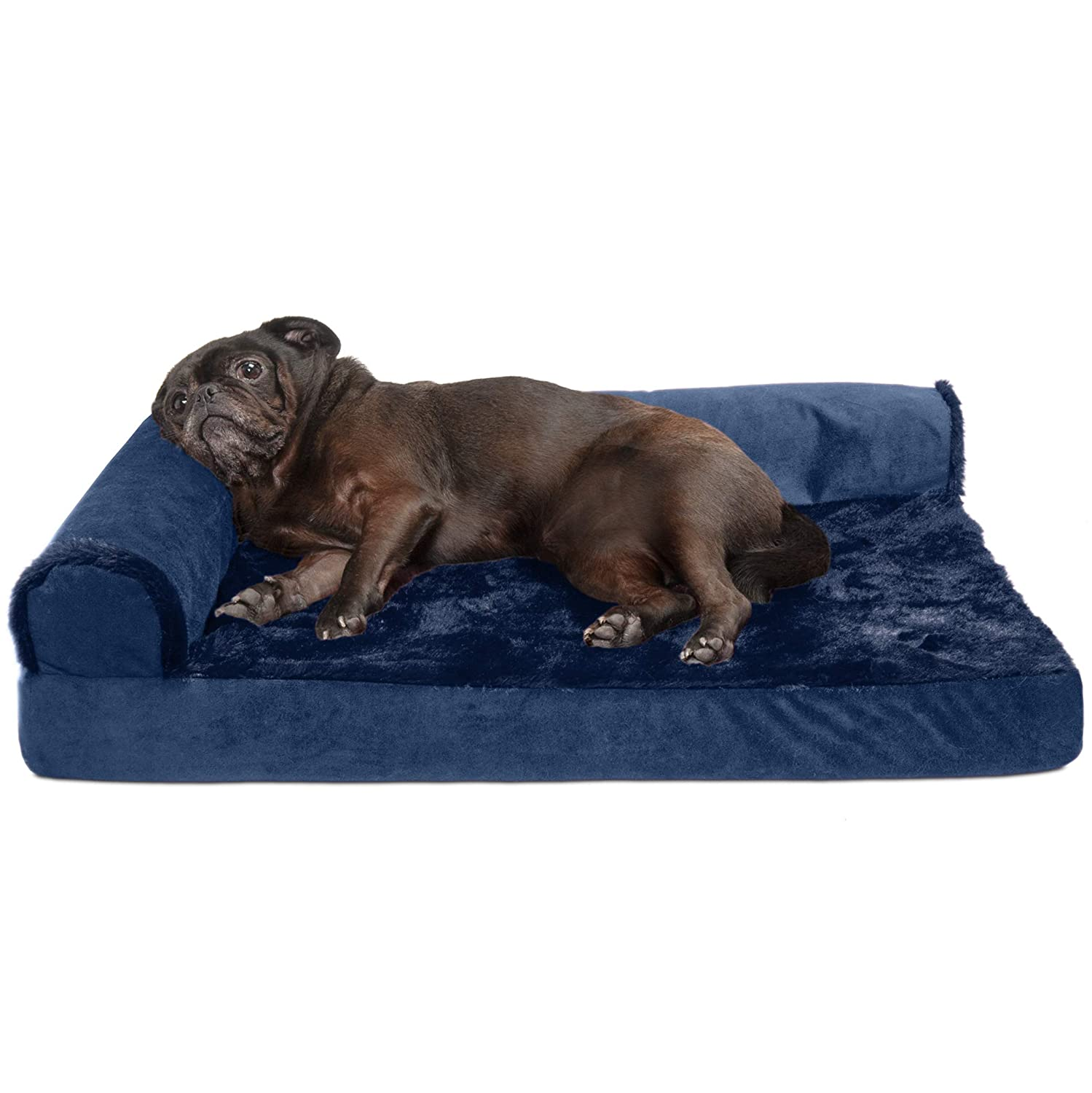 Furhaven Pet Dog Bed   Deluxe Cooling Gel Memory Foam Orthopedic Plush & Velvet L-Shaped Lounge Pet Bed for Dogs & Cats, Deep Sapphire, Medium