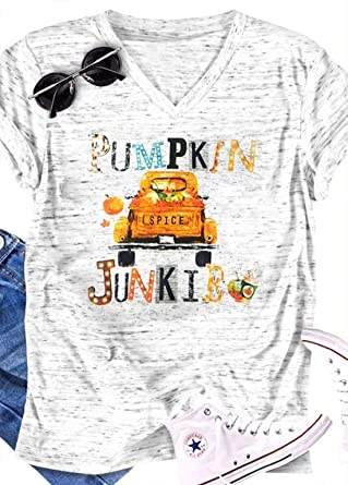 8edca7d8 Amazon.com: Halloween Pumpkin Spice Junkie V-Neck T-Shirt Women's Casual  Printed Costume Top …: Clothing