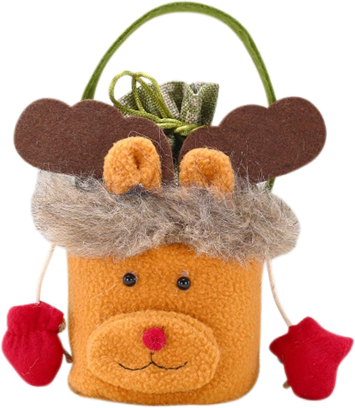 Colorful gourd Christmas Portable Gift Bag Santa Claus Snowman elk Bag Apple Candy Storage Bag for Kid Gift Decoration Blessing Bag (Elk)