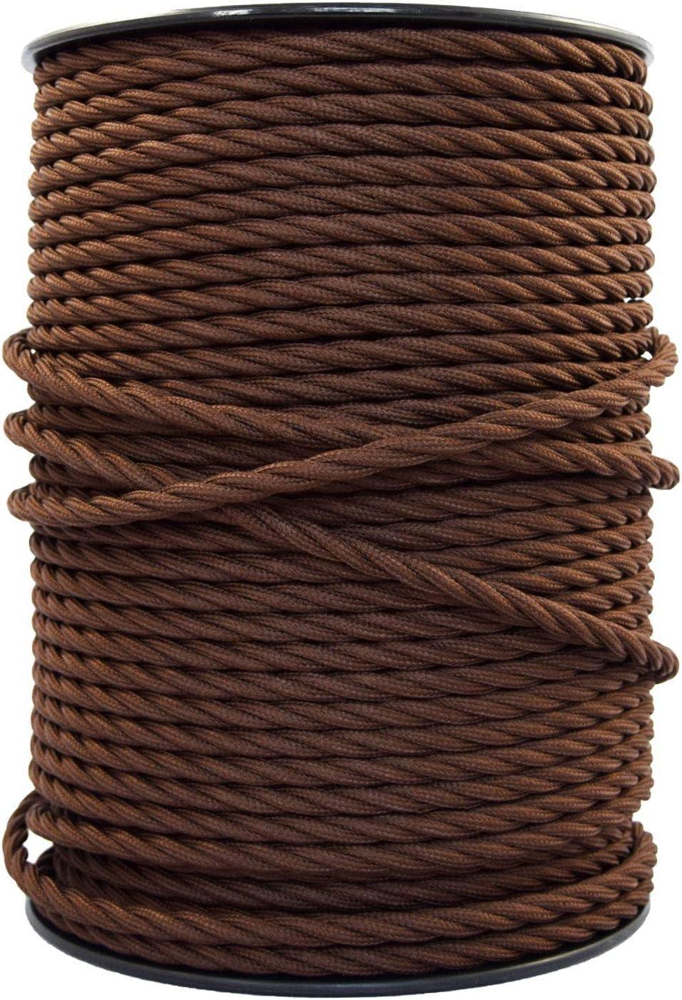 smartect Cable para lámparas de tela en color Marrón - Cable textil trenzado de 20 Metro - 3 hilos (3 x 0,75 mm²) - Cable de luz con revestimiento textil
