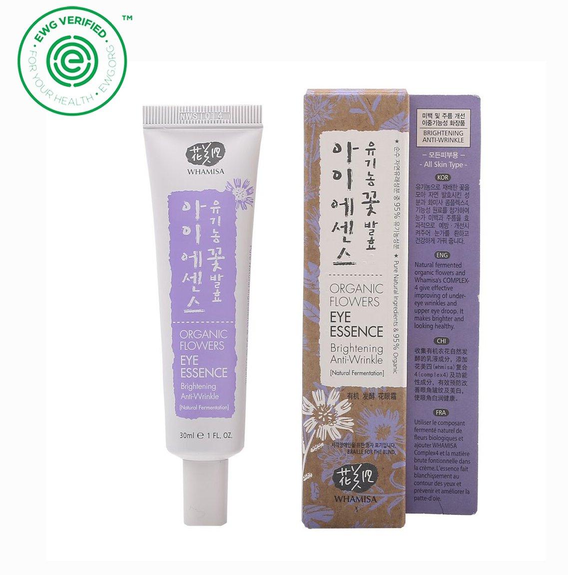 Whamisa Organic Flowers Eye Essence 30ml, 1.01 fl. oz., Anti Wrinkle, Lifting, Brightening, Moisturizing - Naturally fermented, EWG Verified