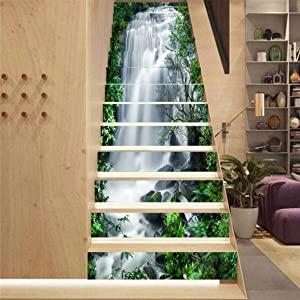 MISSSIXTY 13PCS/Set 3D Self-Adhesive Stair Risers Stickers Vinyl Staircase Stickers Stairway Decal Mural Wallpaper Home Decor 39.3 Inch x7.08 Inch (Nature Falls)