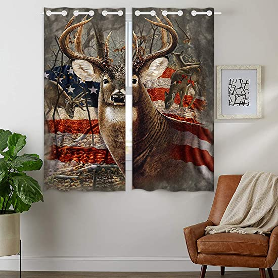HommomH 42 x 63 inch Curtains 2 Panel Grommet Top Darkening Blackout Room Americana Flag Deer