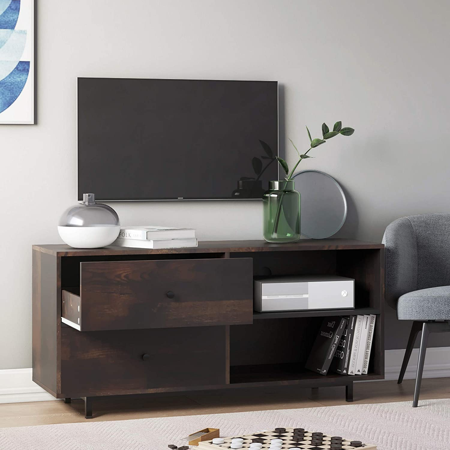 Nathan James Tora TV Stand Media Wooden Console Oak Finished Drawers, 46