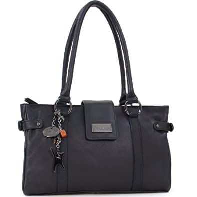 1243d43ee563 Catwalk Collection Handbags - Women s Leather Top Handle Shoulder Bag -  MARTINA - Black