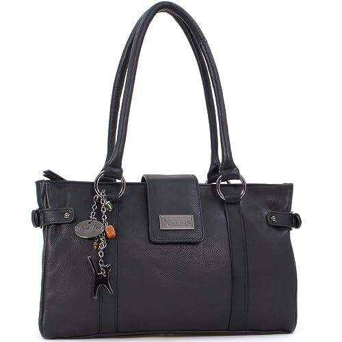 Catwalk Collection Handbags - Women s Leather Top Handle Shoulder Bag -  MARTINA - Black 8e8ab2705a