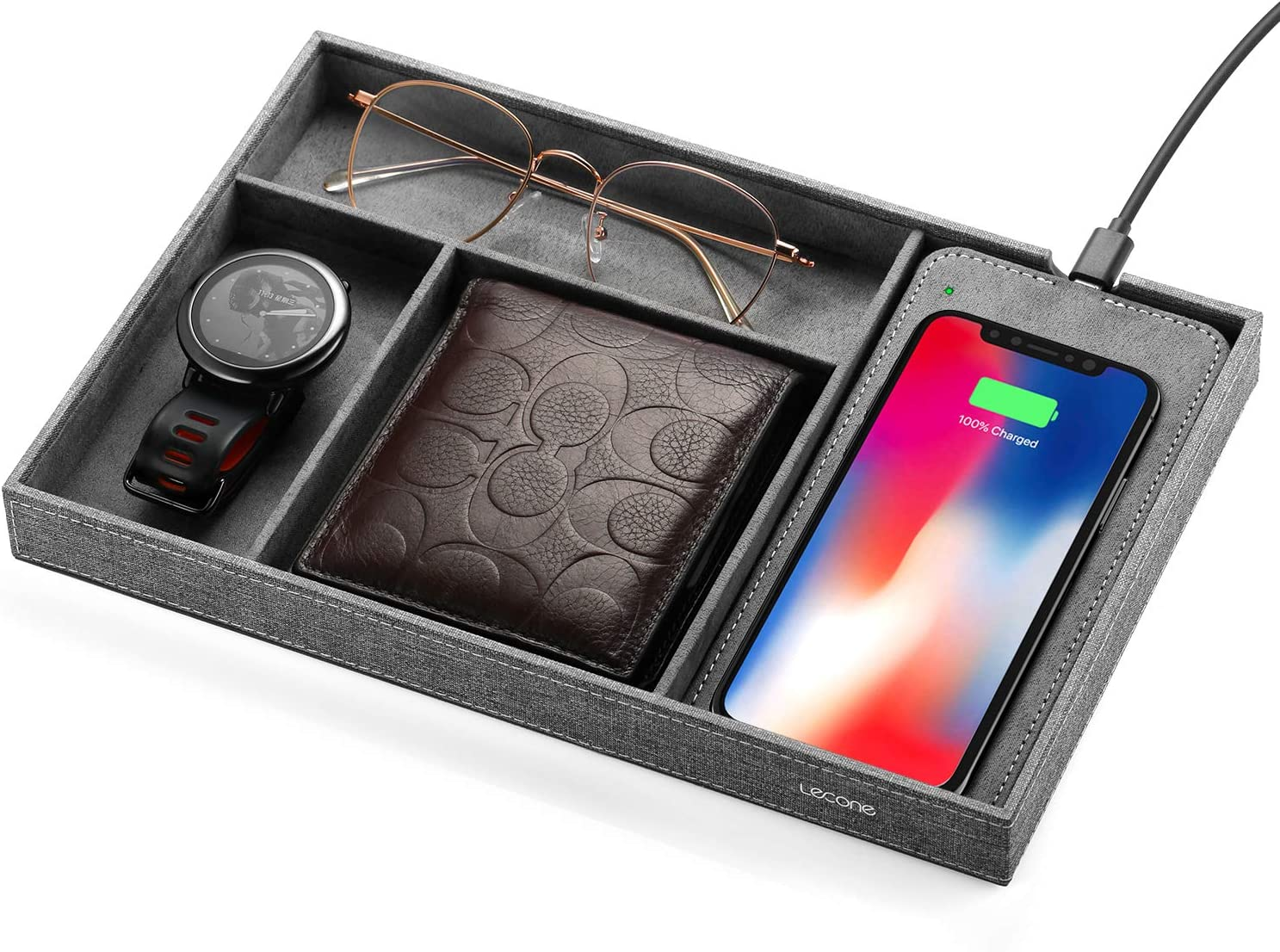 Lecone Fast Wireless Charger with Organizer Tray Qi Fabric Charging Station Table Nightstand Organizer for iPhone SE 2020/11/11 Pro/11 Pro Max/Xs MAX/XR/XS/X/8,Galaxy S20/Note 20/S10 Plus, Grey