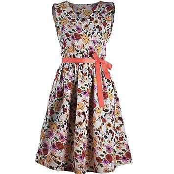 Vestido vintage para mujer �?Saihui 1950 Retro floral patrón impresión plegable cinturón venda swing A