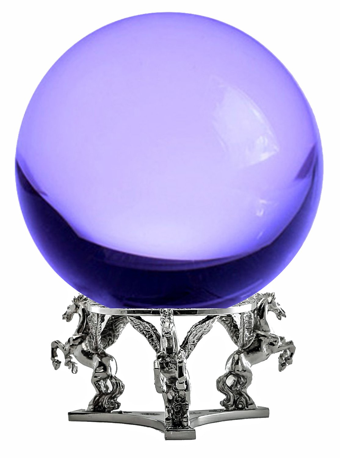 Amlong Crystal Purple Crystal Ball 130mm (5 in.) Including Silver Pegasus Stand