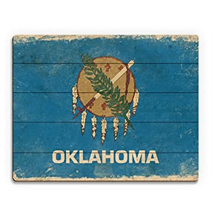 Flag of Oklahoma - Paper Distressed State Flag Wall Art Print on Wood