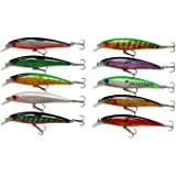 10pcs/lot Minnow Swimbait 3D Fishing Eyes Hard Bait Fishing Lures Laser Line Life-like Bass Crankbait Tackle for Pikes/Bass/Trout /Walleye/Redfish
