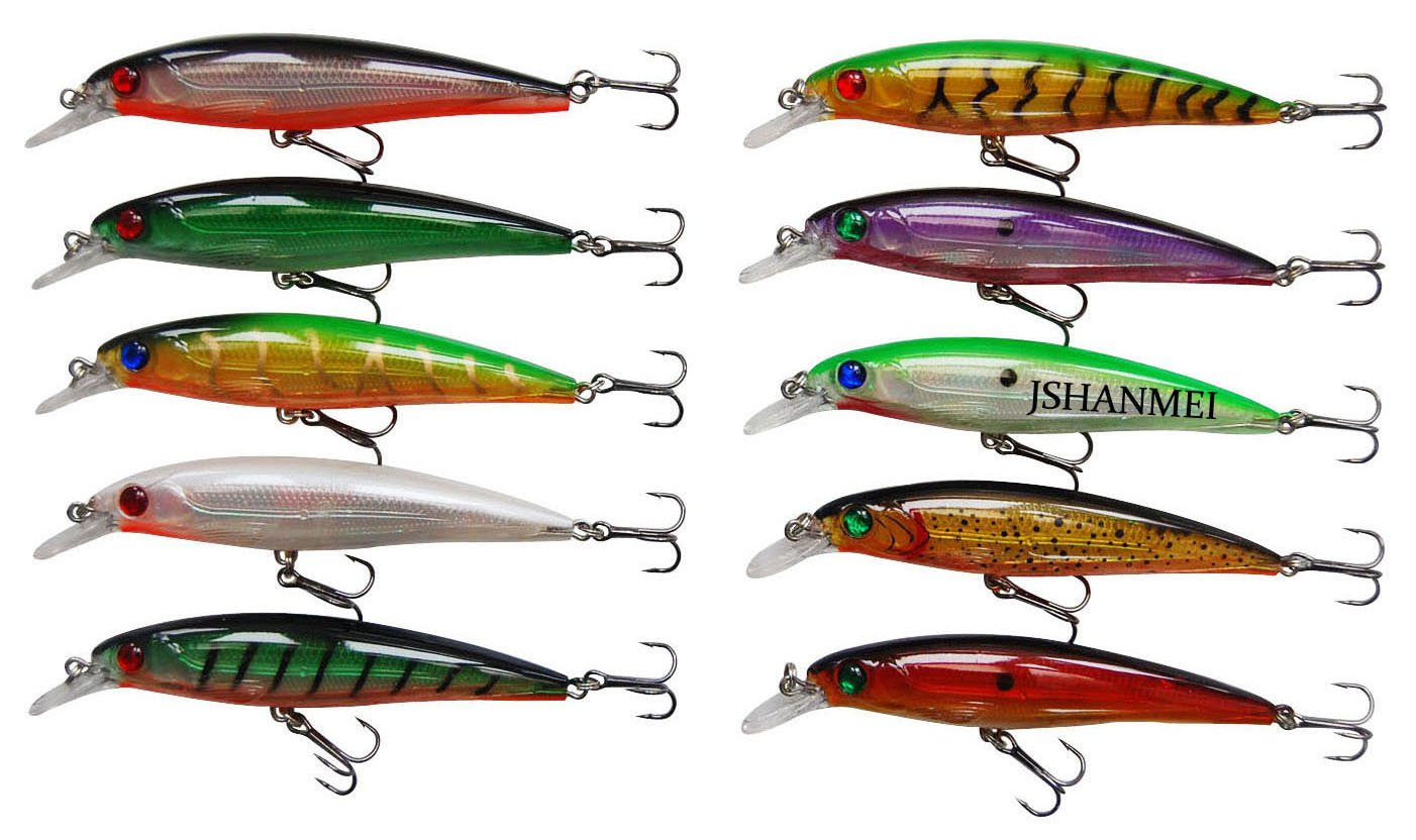 JSHANMEI 10pcs/lot Minnow Swimbait 3D Fishing Eyes Hard Bait Fishing Lures Laser Line Life-Like Bass Crankbait Tackle for Pikes/Bass/Trout/Walleye/Redfish