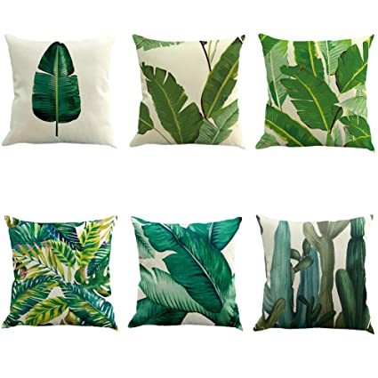 6 pedazos de lino 45x45 cm 18X18 pulgadas tradicional tropical decorativo clásico sofá Cobertor de Cojín Decoración del hogar