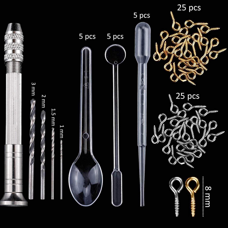 83 PCS DIY Bijoux Silicone R/ésine Moulage Moules Outils Ensemble pour Porte-cl/és Boucles Doreilles Colliers Pendentif Faire Artisanat Fournitures