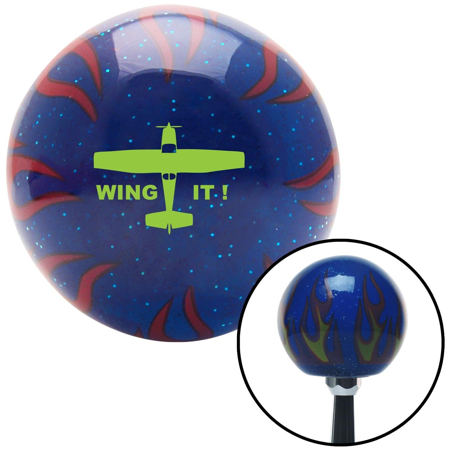 American Shifter 251744 Blue Flame Metal Flake Shift Knob with M16 x 1.5 Insert Green Wing It