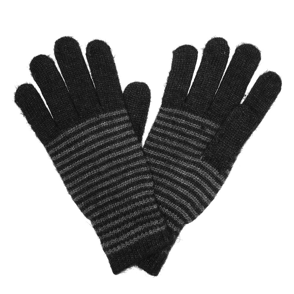 LL Black Womens Mens Dress Winter Gloves Wool Stripe Knit Fashion Angora Rabbit