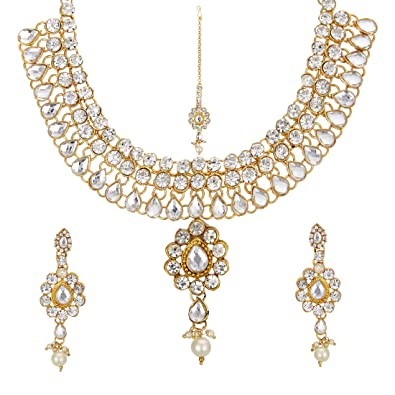 386b4f5c2 Buy Zeneme Kundan Polki Jewellery Set/Necklace Set with Earring & Maang  Tika for Women Online at Low Prices in India | Amazon Jewellery Store -  Amazon.in