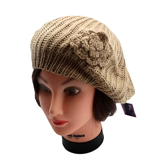 896a178c4d6d6 Classic Knit Beret with Knitted Flower - Elegant and Fashionable Hat for  Women - Lightweight