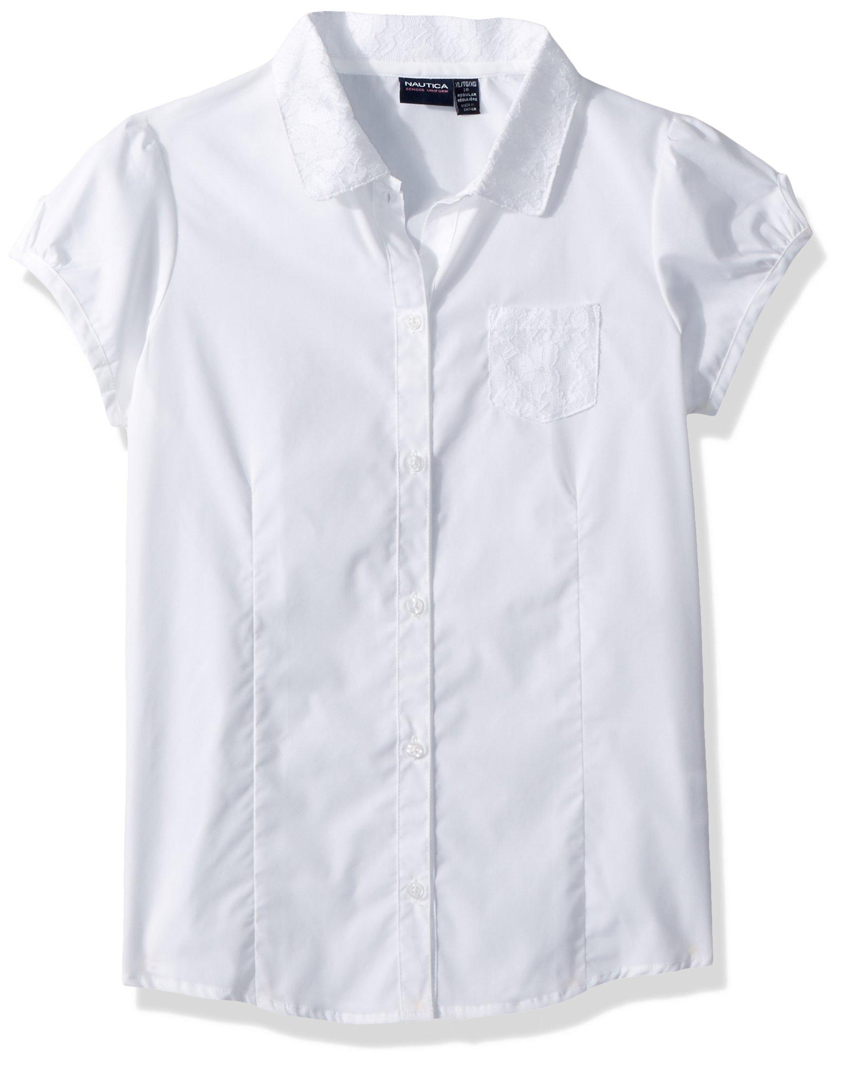 Nautica Big Girls' Uniform Short-Sleeve Blouse, White/Lace, L (12/14)