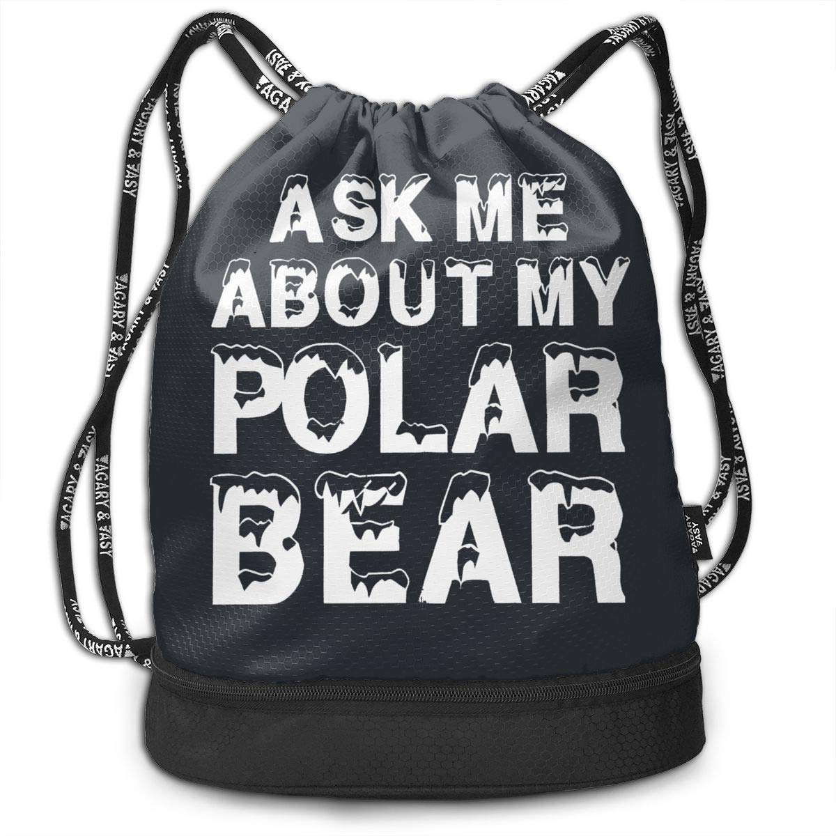 Address Verb Drawstring Backpack with Pocket Multifunctional Sturdy Ask Me About My Polar Bear Sackpack Sports by Address Verb