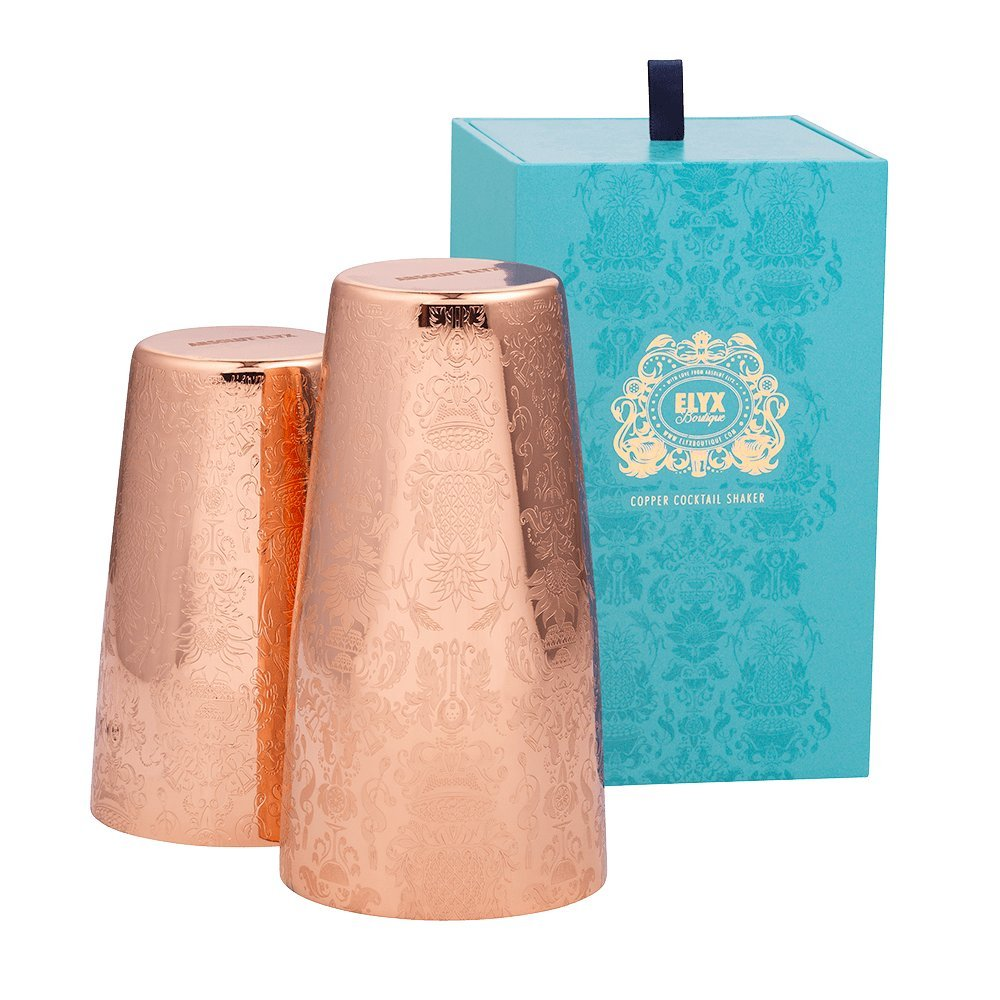 Engraved Copper Cocktail Shaker Gift Box by Elyx Boutique - Two-piece Boston Shaker
