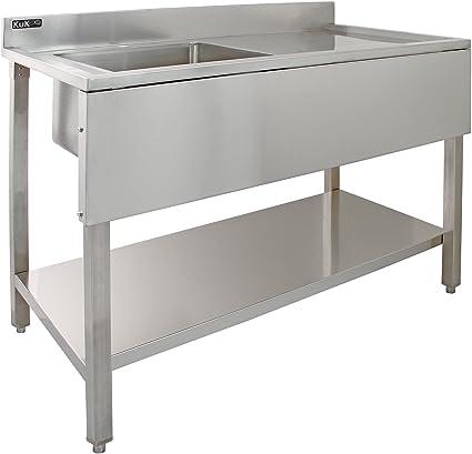 KUKOO Fregadero de Acero Inoxidable Industrial de Cocina 1 Cuba Muebles de Acero Inoxidable para Cocina | 120 cm x 60 cm x 90 cm