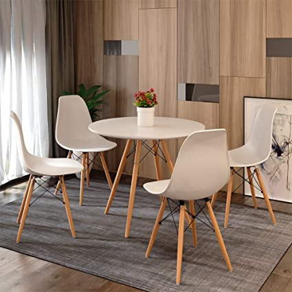 Pleasant White Table And Chairs 4 Round Kitchen Chairs Eiffel Style Modern Eiffel Dining Chairs Wood Legs Kitchen 80 Cm Diameter White Unemploymentrelief Wooden Chair Designs For Living Room Unemploymentrelieforg