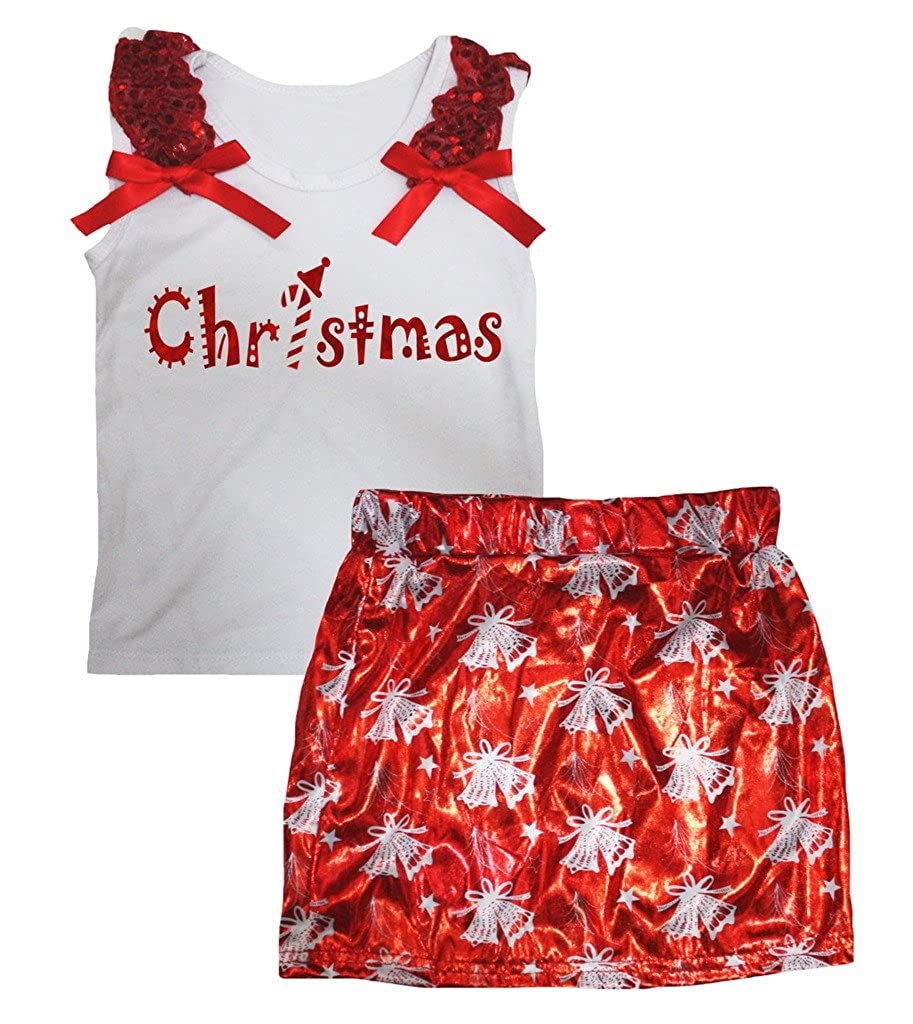 Petitebella Christmas White Cotton Shirt Bell Bling Red Skirt Set 1-8y