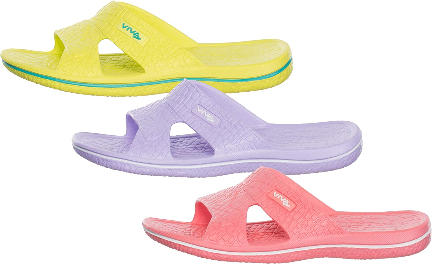 Mint Turquoise and Lemon Size 3-7 White Lilac Womens Bathing Slippers Beach Shoes Coral