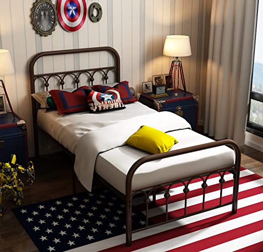Amazon Com Metal Bed Frame Twin Size With Vintage Headboard And