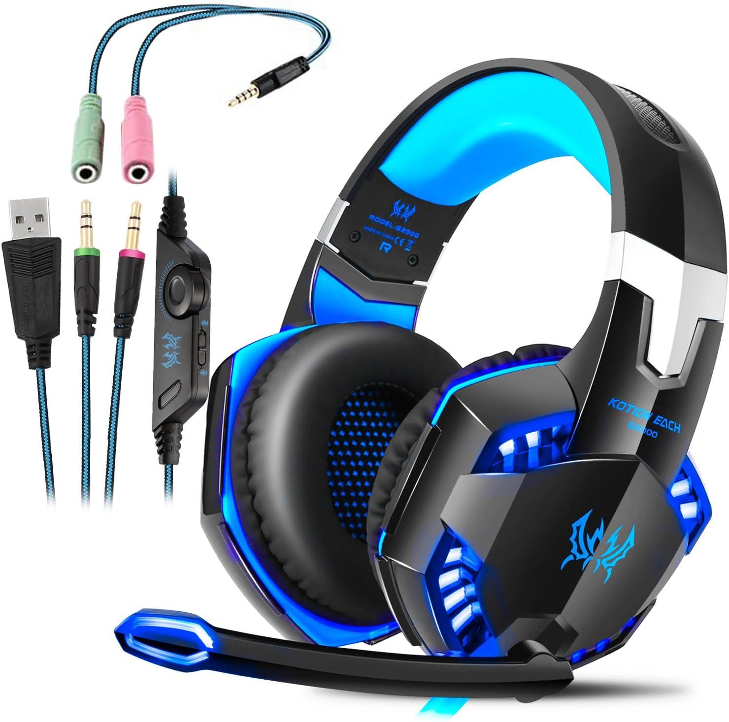 Auriculares Gaming con microfono, Cascos Gaming, Auriculares para Juegos para PS4 / PC/Xbox One/Switch/Tableta/Celular, Headset estereofónico con fantástico LED Luces, micrófono antiruido (G2000)