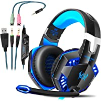 Cascos Gaming, Auriculares Gaming con Micrófono Headset Mac Estéreo Juego Gaming Jack 3,5mm LED Bajo Ruido Compatible…