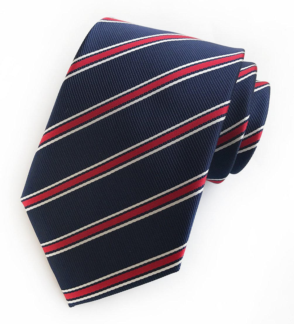 Men's Repp Navy Blue Red White Fine Striped Silk Tie Daily Dress Meeting Necktie by Elfeves (Image #2)