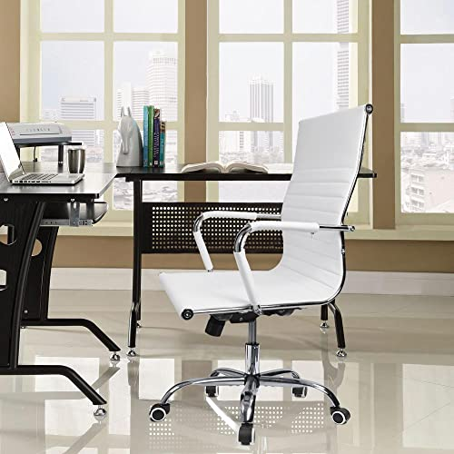 Devoko Office Desk Chair Mid Back Leather Height Adjustable Swivel Ribbed Chairs Ergonomic Executive Conference Task Chair with Arms White