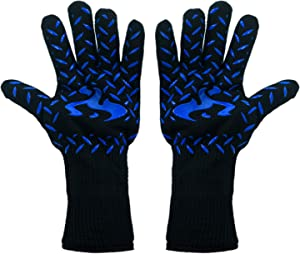 932℉ Extreme Heat Resistant Oven Mitts, Food Grade Kitchen Gloves - Flexible Oven Gloves, Silicone Non-Slip Cooking Hot Glove for Grilling, Baking (Width 4.9 in Blue)