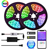 UMICKOO Dream Color LED Strip Lights with APP,10m/32.8ft Waterproof Strip Lights with Built-in Digital IC,300 LEDs SMD…