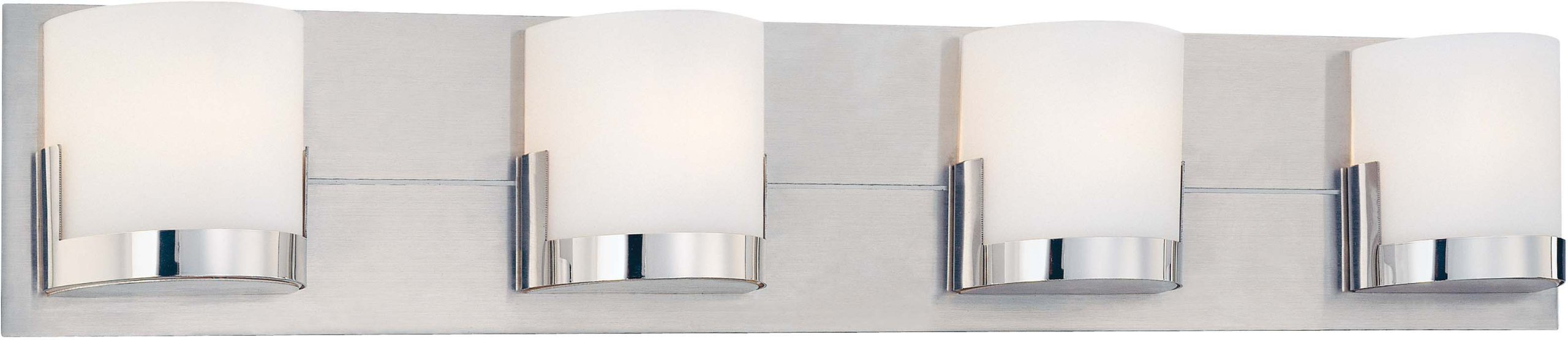 George Kovacs P5954-077, Convex, 4 Light Bath Fixture, Brushed Aluminum Backplate / Chrome Glass Holders by Kovacs