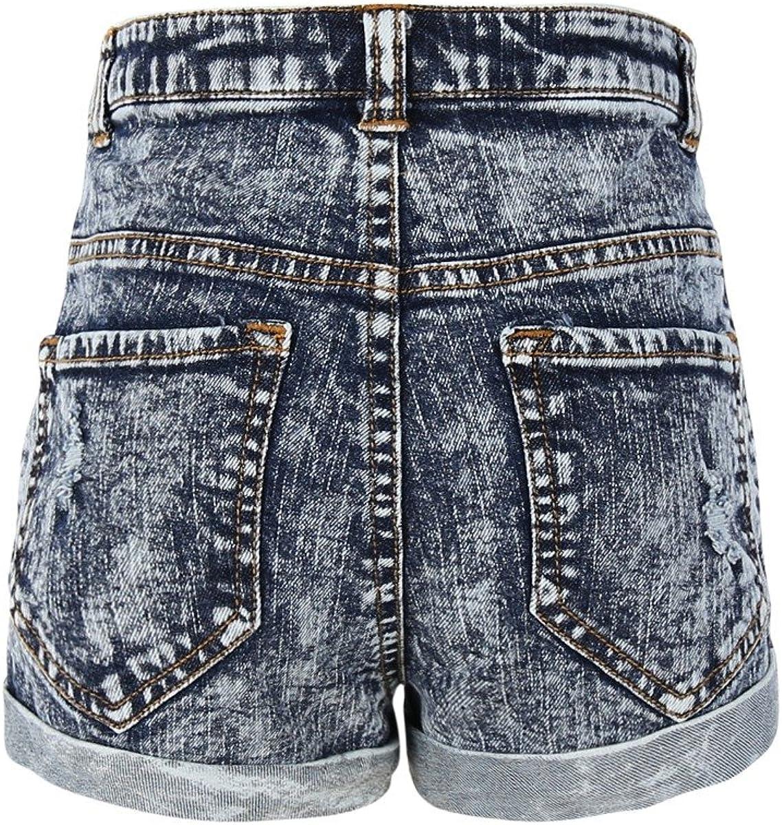 Bienzoe Girls Summer Denim High Waist Holes Ripped Jeans Shorts