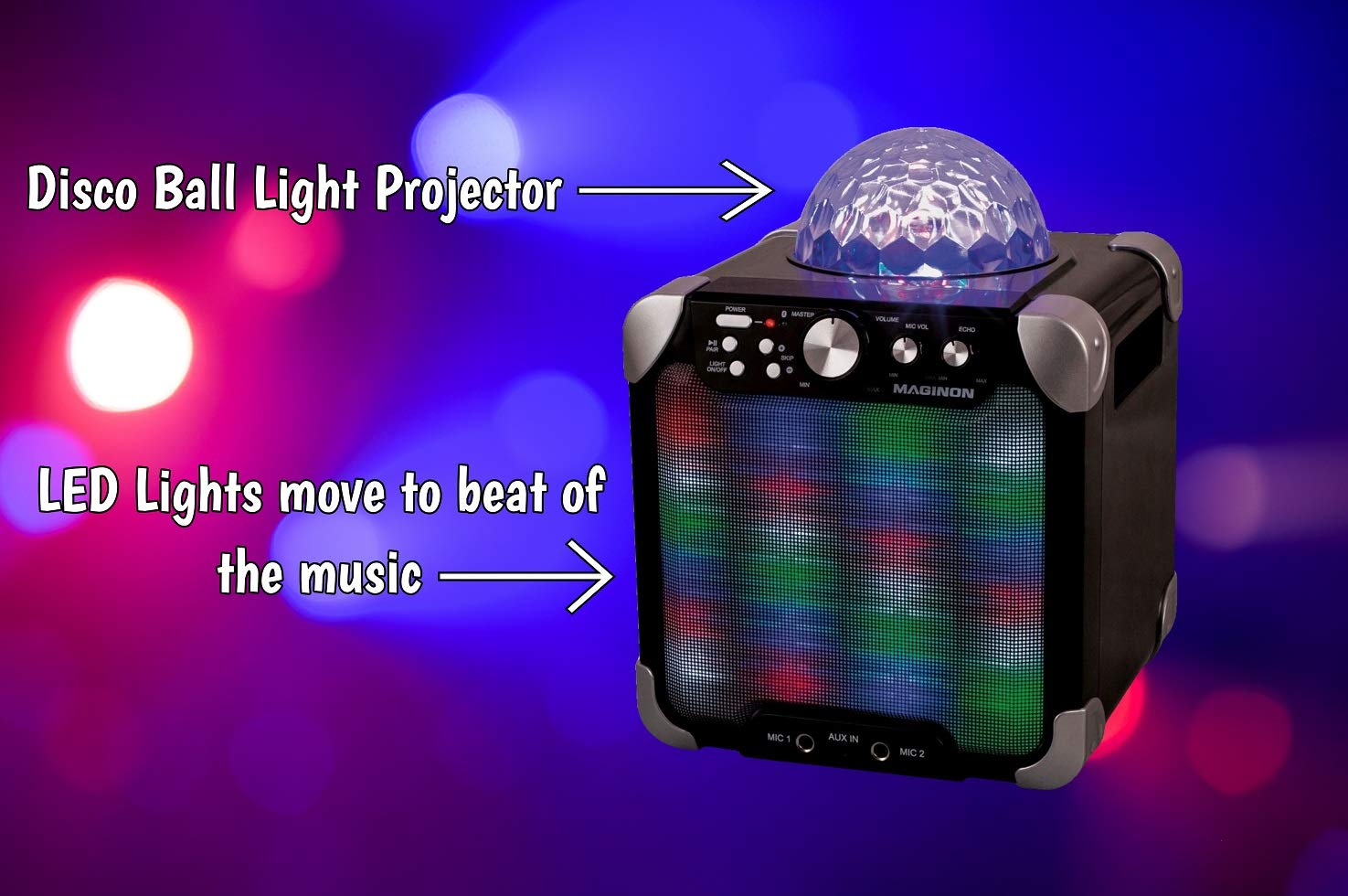 Maginon Party Speaker (PS-15 E)   Portable Speaker System with Built-in Light Show Perfect for Dance Parties and Karaoke by Maginon